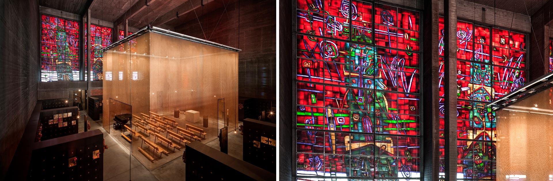 Grabeskirche St. Bartholomäus Köln, Glasfenster und Kapellenraum